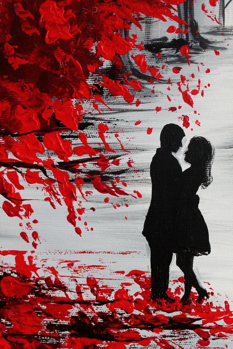 Arte Murale Romantica Dipinto Di Coppia Su Tela Coppia In Etsy Romantic Wall Art Couple Painting Autumn Painting