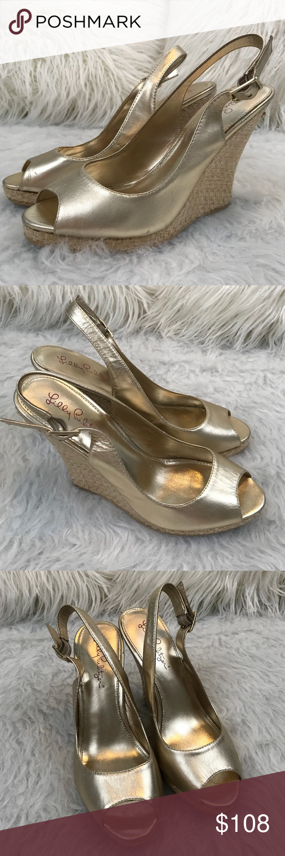 ed55d368924 Lilly Pulitzer Kristin Leather Wedge These tumbled leather gold ...
