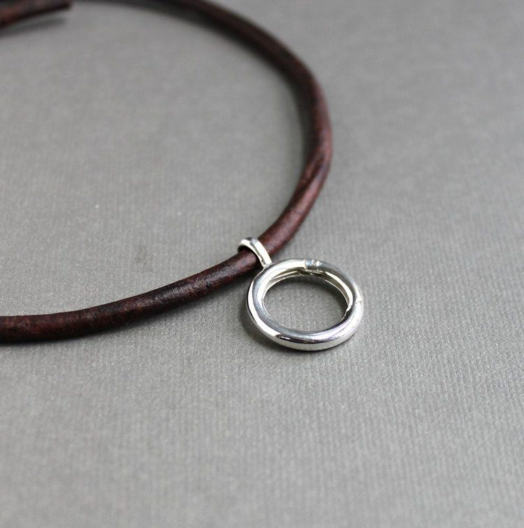 Men S Leather Cord Ring Pendant Holder Leather Corded Necklace Evil Eye Necklace Eye Necklace