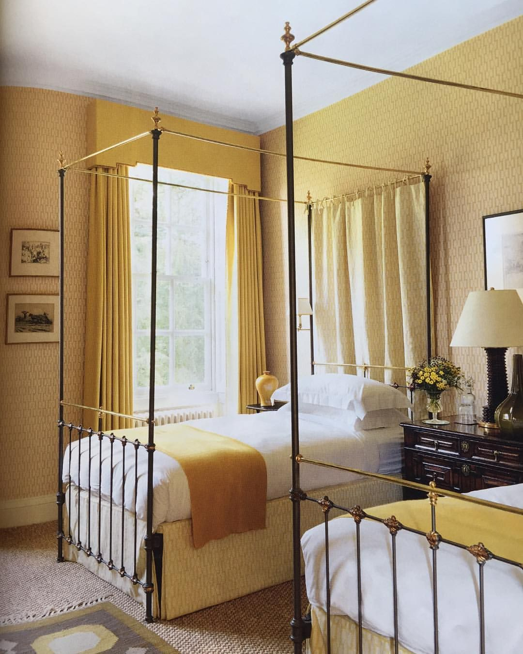 how to make a north facing guest room in deepest norfolk full of sunshine wallpaper and beds in warm yellow tones - Yellow Canopy Interior