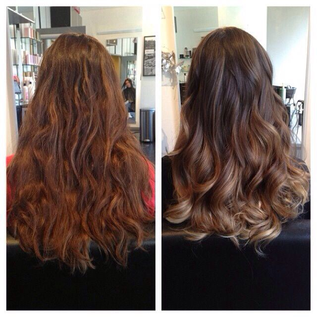 balayage highlights before and after