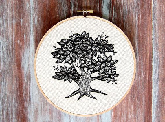 Embroidered Tree Hoop Art-Embroidery Hoop by ZellyaDesigns on Etsy