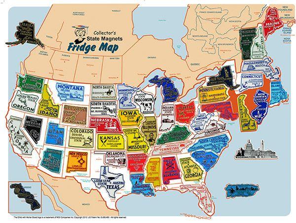 USA Magnet Set with FREE USA Fridge Map 50 states
