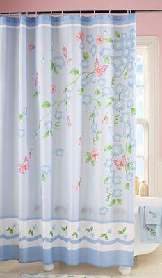 Blue Floral Garden Bathroom Shower Curtain Unique Shower Curtain