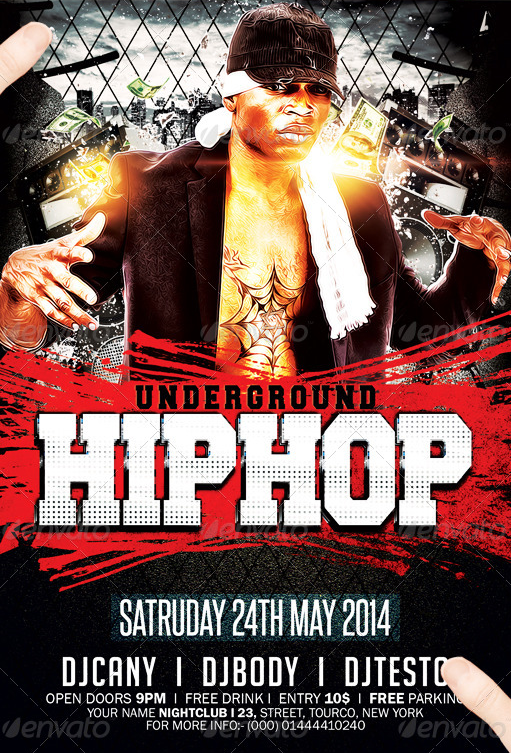 Underground Hip Hop Flyer Template  Party Flyer Templates For