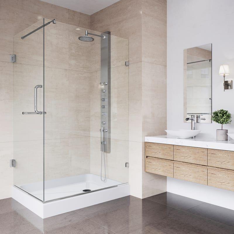 Vigo Vg6012chcl36wl Clear Chrome Pacifica 79 1 4 High X 48 Wide X 36 1 8 Deep Hinged Frameless Shower Enclosure With 3 8 Glass Shower Pan With Left Hand Shower Enclosure Steel Shower