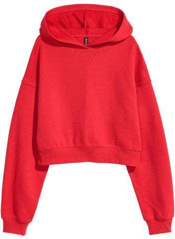 524c1d864ab H M Short Hooded Sweatshirt - Red
