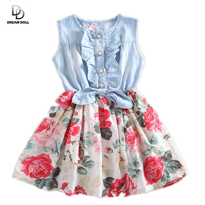 a2e5792e3c Girls Dress Summer 2016 Girl Flower Dress Baby Sleeveless Dresses ...