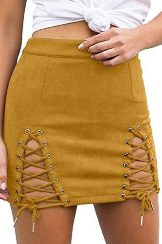 0c83c757d Material:Faux Suede,Solid Soft Lighweight Fabric - Imported - Double  Criss-Cross Lacing Up Split Side,High Waist Bodycon Faux Suede Mini Pencil  Skirt ...