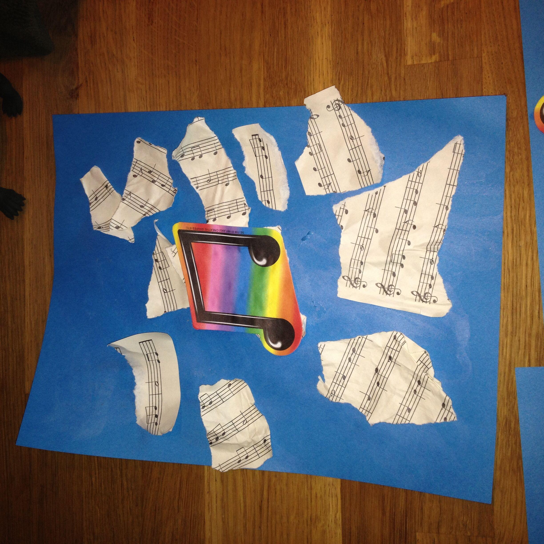 Preschool Craft Music Theme Sheet Music Collage