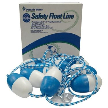 """""""Pentair Float Line Kit""""    This float line kit will fit pools up to 20 feet wide. Kit comes with rope, 9 - 3"""" x 5"""" floats, and two hooks that will attach to your pool wall fitting."""