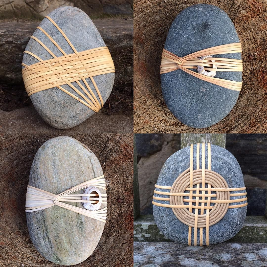 "Photo of Aurore Whitworth on Instagram: ""My fingers need a break! #serenitystones #rockwrapping #stonewrapping #naturalcraft #rattan #weaving #basketry #theshetlandgallery…"""