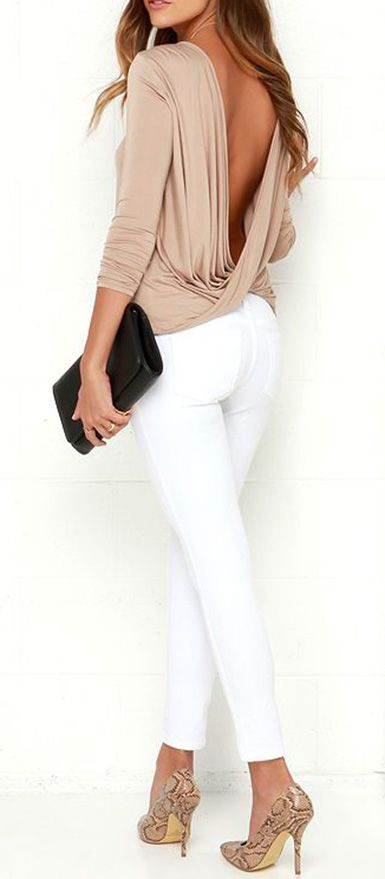 Simple and sexy combine to form one fabulous basic  the Walk Twist Way  Light Brown Long Sleeve Top! This stretchy jersey knit top has a  straight-cut bodice ef8551f21cd