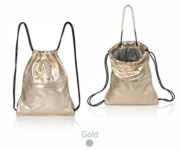 Metallic Gold Leather backpack purse - metallic leather bag SALE women backpack - laptop backpack- drawstring backpack gold leather rucksack