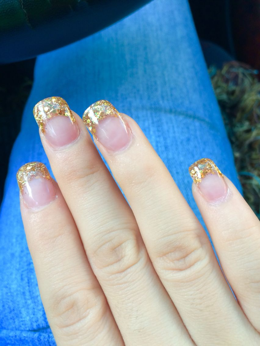 Gold acrylic nails| French tip nails| glitter| gold| | Nails ...