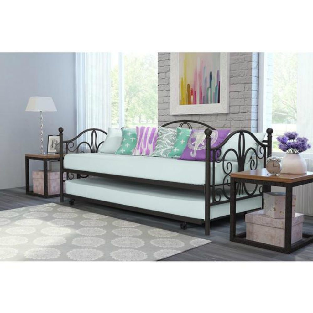 Adult Daybed With Pop Up Trundle Twin Size Bunk Bed Frame Bedroom