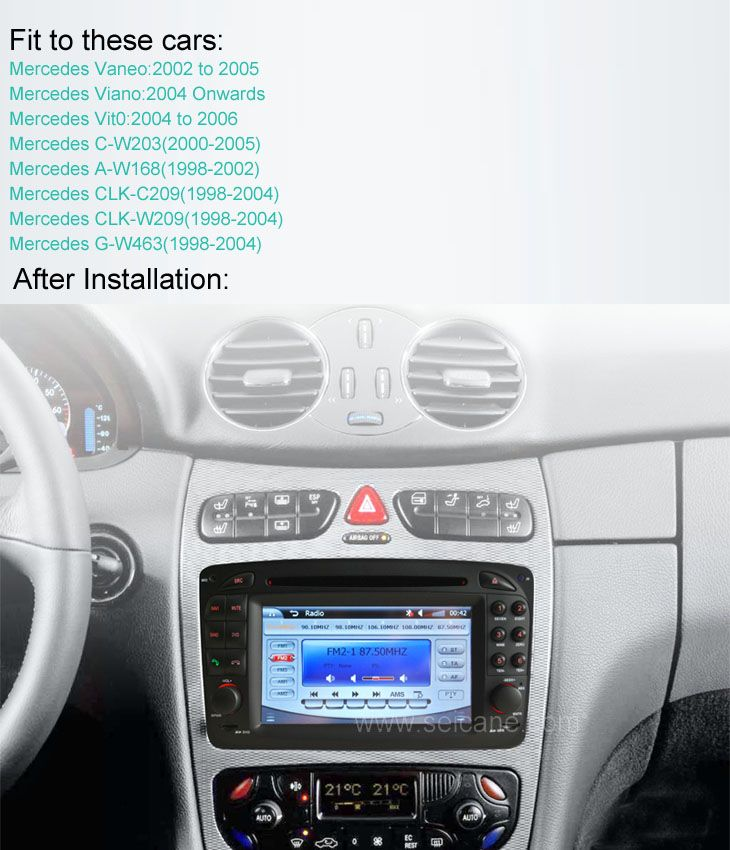 Car DVD player for Mercedes-Benz C-Class W203 with gps radio tv