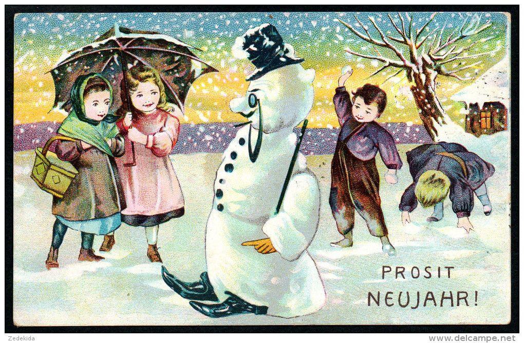 7837 - Alte Litho Glückwunschkarte - Neujahr - Kinder Schneemann - Gel 1909 - Neujahr