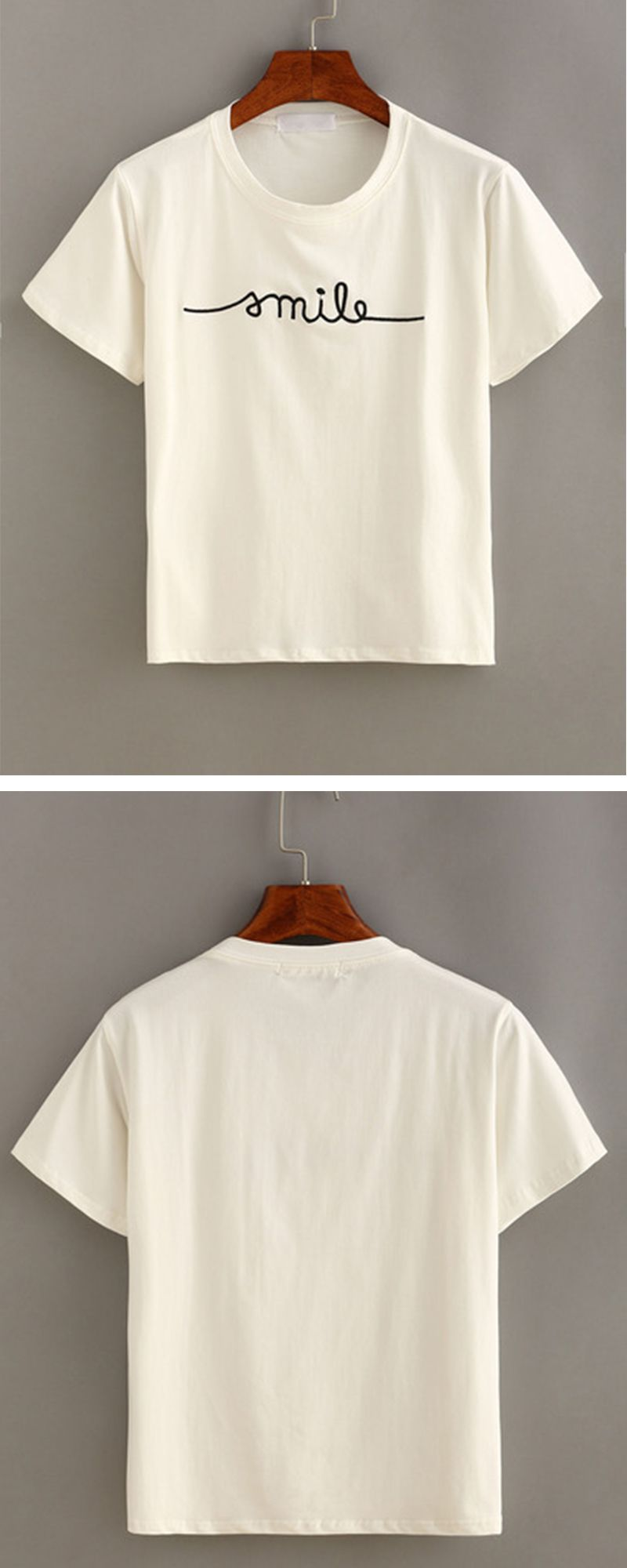 a1f370fac Letter Embroidered Short Sleeve T-shirt | Pinterest Closet ...