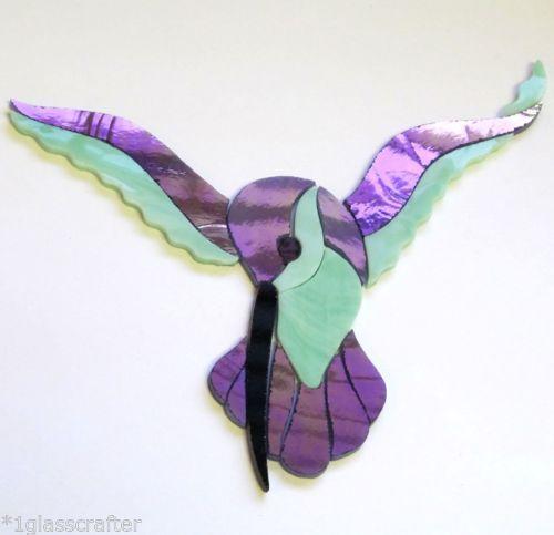 Precut stained glass art kit HUMMINGBIRD Mosaic Stepping ...