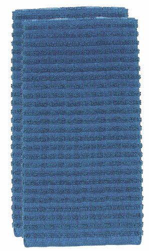 ritz royale collection solid kitchen towel set, federal blue, 2