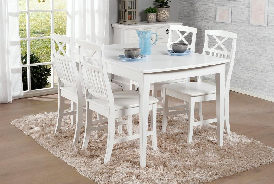 NELLA-ruokailuryhmä valkoinen (pöytä 125x80cm ja 4 tuolia puuistuin)   Sotka.fi