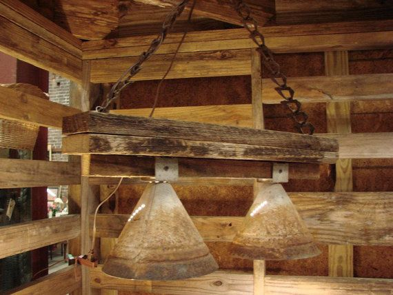 repurposed lighting. Rustic, Industrial Hanging Lighting, Repurposed Farm Items Lighting