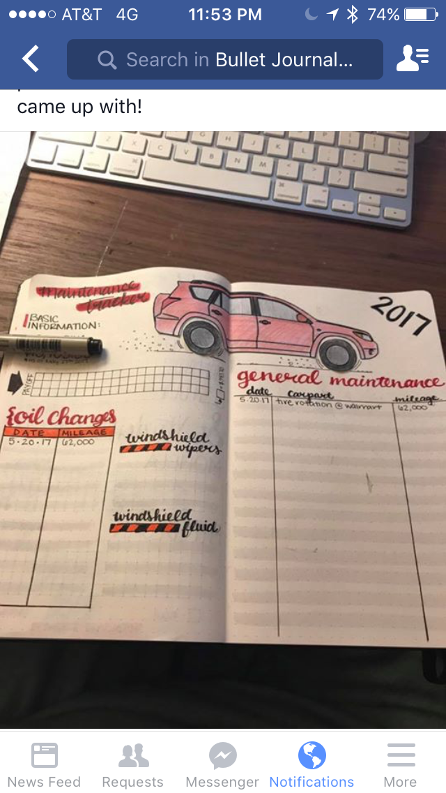car maintenance tracker journaling pinterest bullet journal