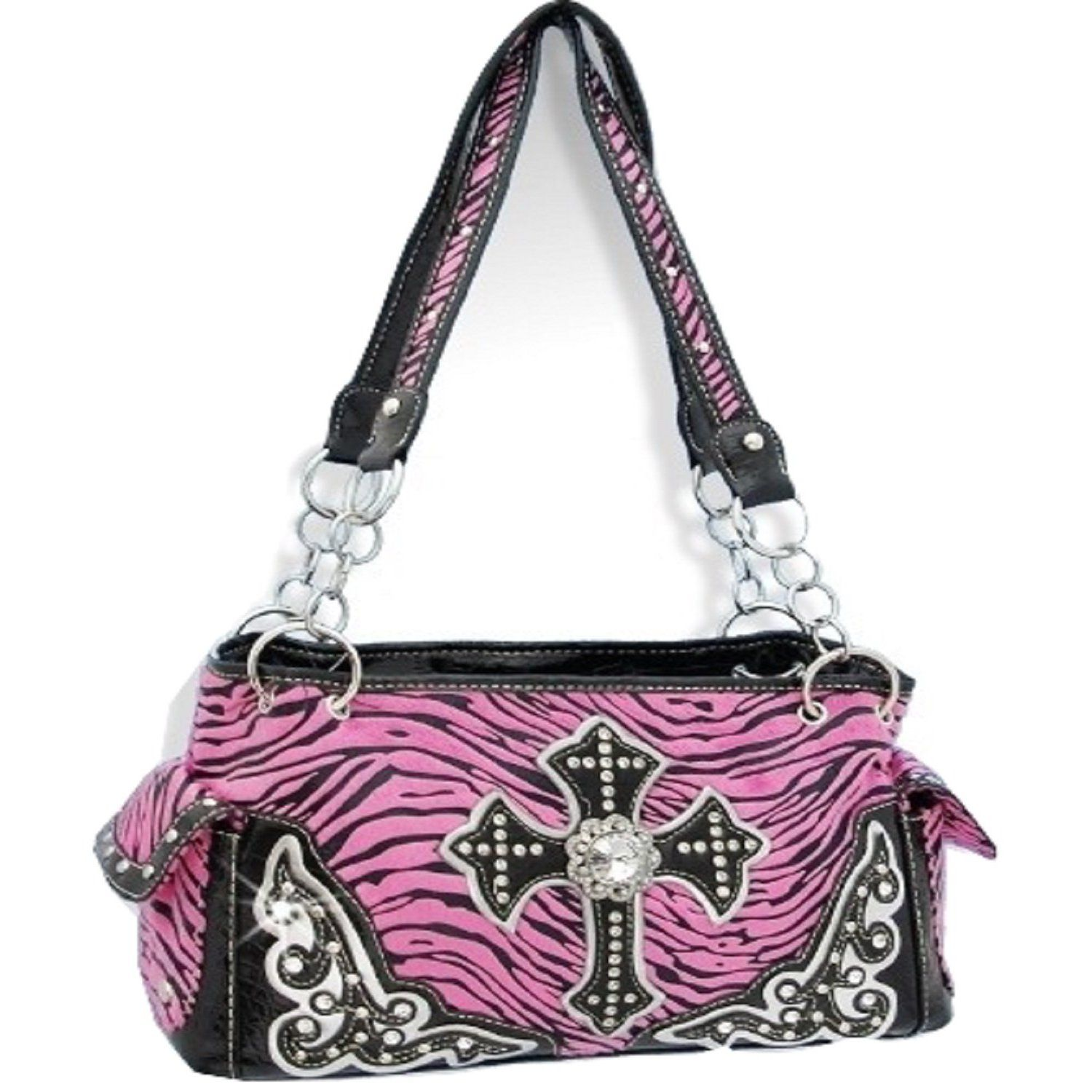 f2e6344b5d07 Pink Zebra Print Cross Purse with Rhinestones