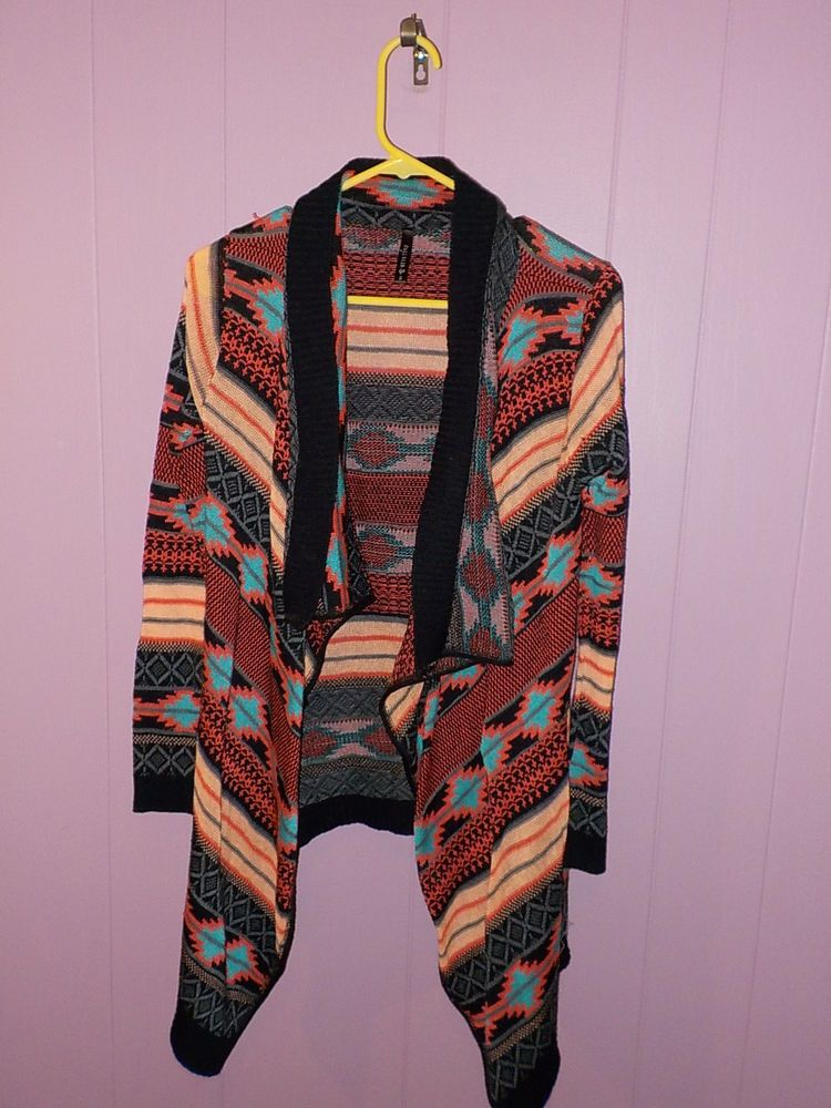 Great and hard to find item fromFULL TILT. , a name y'all know for great clothing items!! Great poncho style long drape over style women's sweater in a fantastic SOUTHWESTERN pattern and great colors!