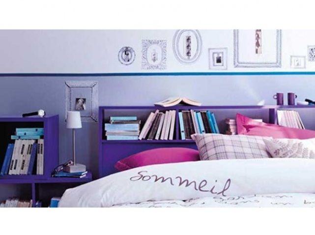 tete de lit bibliotheque violette