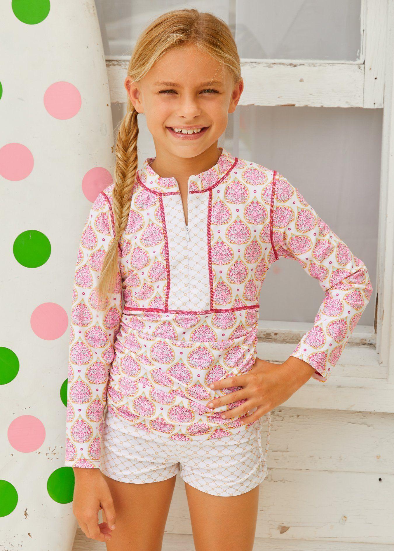 Pink and gold dress for kids  Gold Coast Rashguard Set  OutfitsGirlsSwimwear  Pinterest