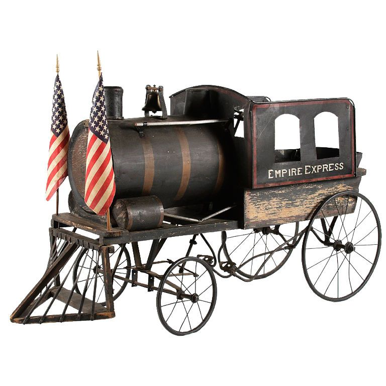 Fantastic American Locomotive Pedal Vehicle  US  1920  FANTASTIC AMERICAN LOCOMOTIVE PEDAL VEHICLE, WITH GREAT FOLK QUALITIES, MADE IN THE FORM OF THE FAMOUS NEW YORK EMPIRE EXPRESS, CA 1920: