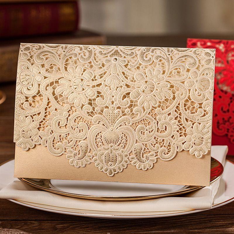 50 Pcs Golden Lace Wedding Invitation With Royal Fl Design Printable Laser Cut Cards Ship Worldwide Days
