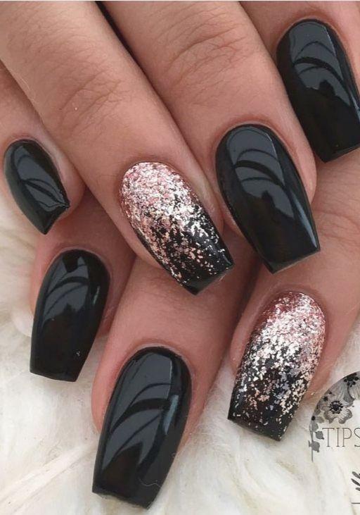 Black Gold Ombre Nails Trends Black Jolis Ongles Vernis A Ongles Ongles En Acrylique
