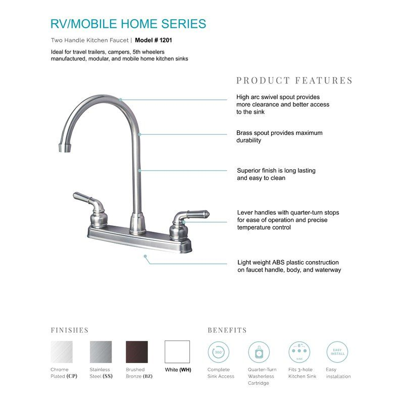 Rv Mobile Home Double Handle Kitchen Faucet With Images