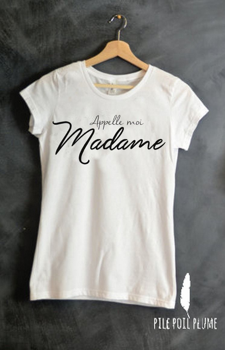 T shirt appelez moi madame mariage cadeau evjf lendemain de mariage vive la mari e - Faire tee shirt personnalise ...