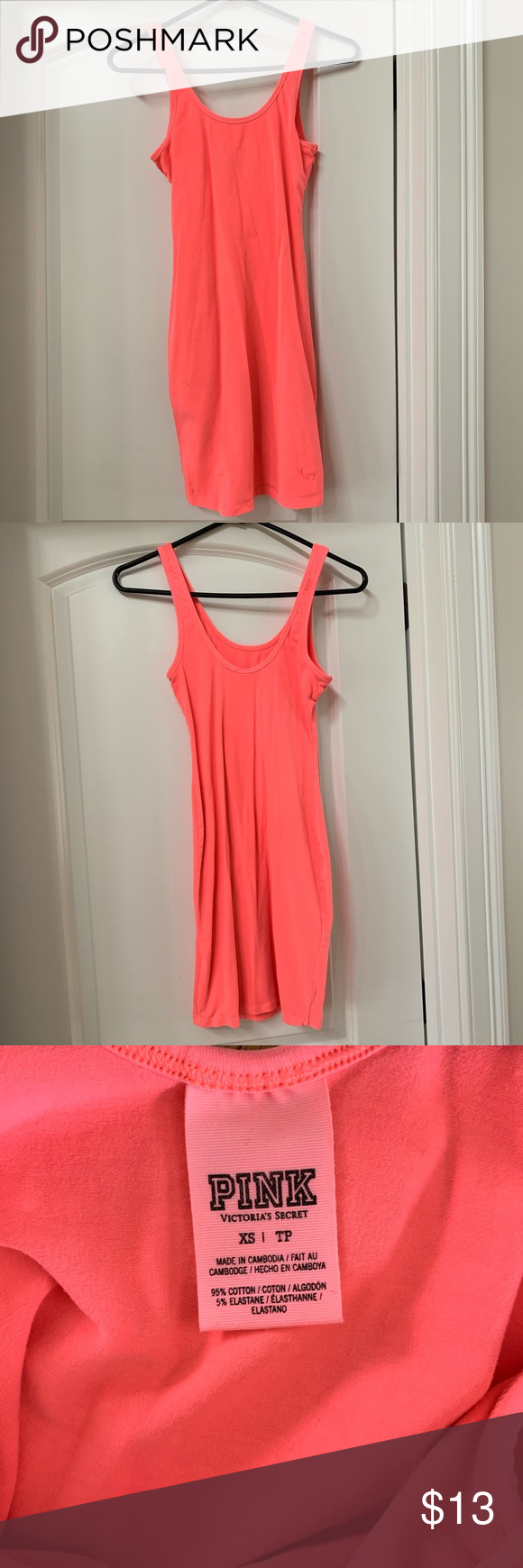 Vs Pink Neon Coral Dress Great Condition Vs Pink Dress True To Size But Stretches Too The Color Is Coral Dress Pink Victoria Secret Dress Neon Coral [ 1740 x 580 Pixel ]