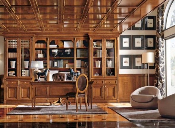 Gracious and Sophisticated Home Office Design with Elegant Wooden