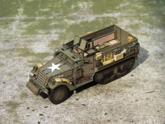 WWII M3 Half-track Armored Vehicle Ver.2 Free Paper Model Download - http://www.papercraftsquare.com/wwii-m3-half-track-armored-vehicle-ver-2-free-paper-model-download.html#187, #ArmoredVehicle, #H0, #HalfTrack, #M3, #M3HalfTrack, #WWII