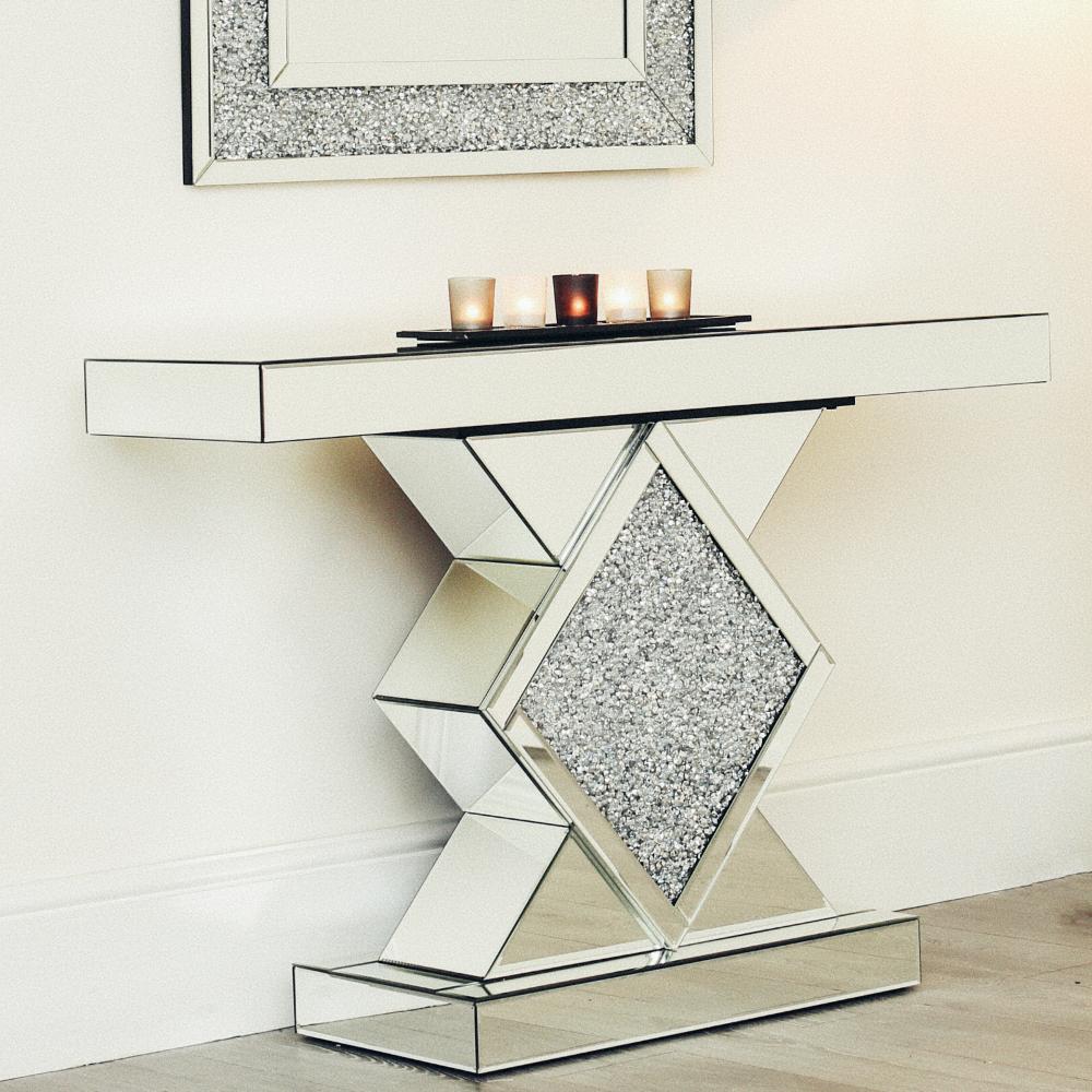Abreo Mirrored Crushed Diamond Mirror Coffee Table