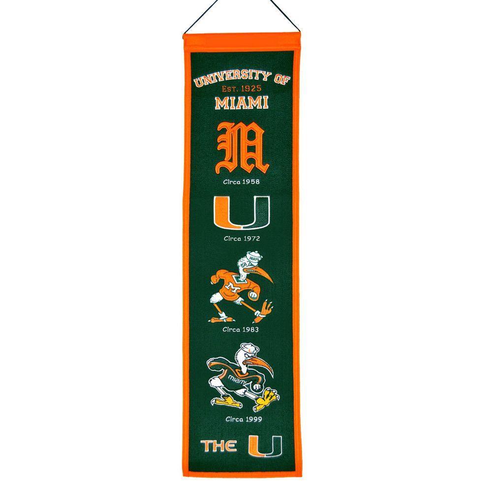 Miami Hurricanes NCAA Heritage Banner (8x32)