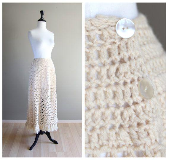 Beautiful Vintage 1960s Ivory Cream Long Skirt / Cream White / 1970s / Bohemian Hippie Boho