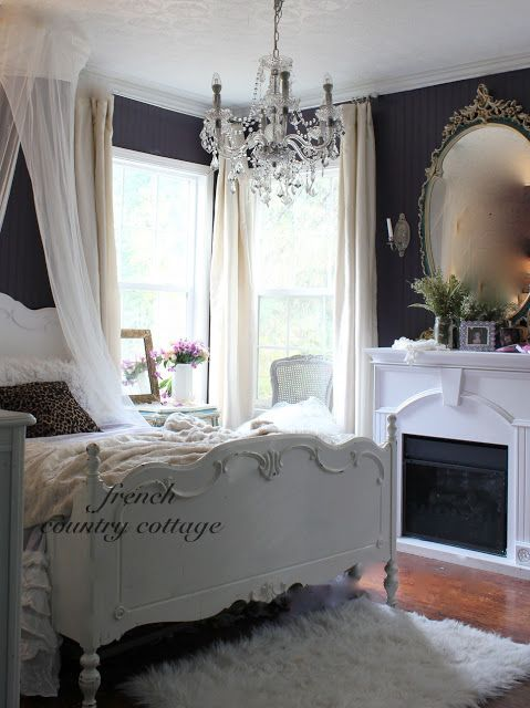 French Country Cottage Love The Black Walls With All The White French Country Bedrooms Country Bedroom Shabby Chic Bedrooms