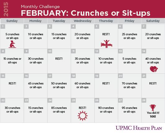 Sit Ups Challenge Upmc Health Plan Month Workout Challenge Sit Up Challenge Monthly Challenge
