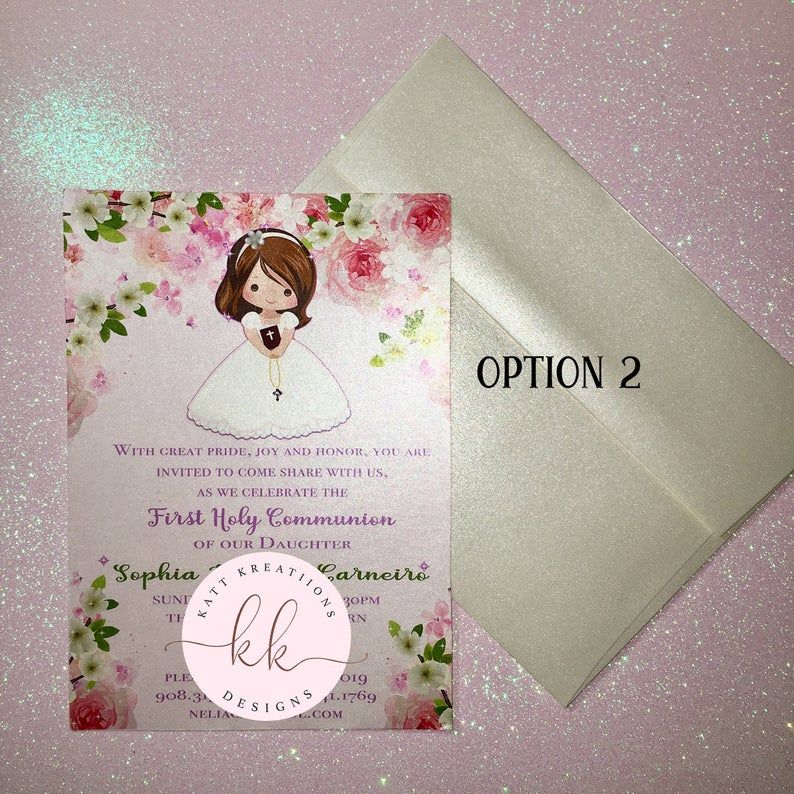 First Communion Invitations Handmade First Communion Invitation Girl First Communion Invitation Spring Communion Con Immagini Prima Comunione Fatto A Mano
