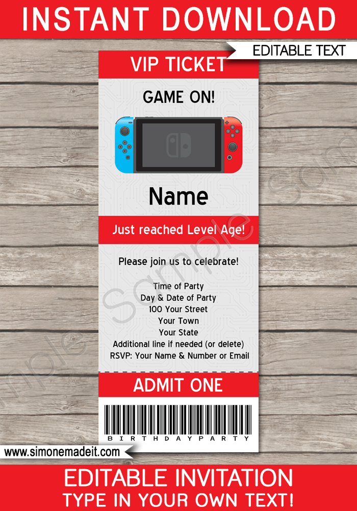 Nintendo Switch Party Ticket Invitation Template Video Games Birthday Party Nintendo Party Party Tickets