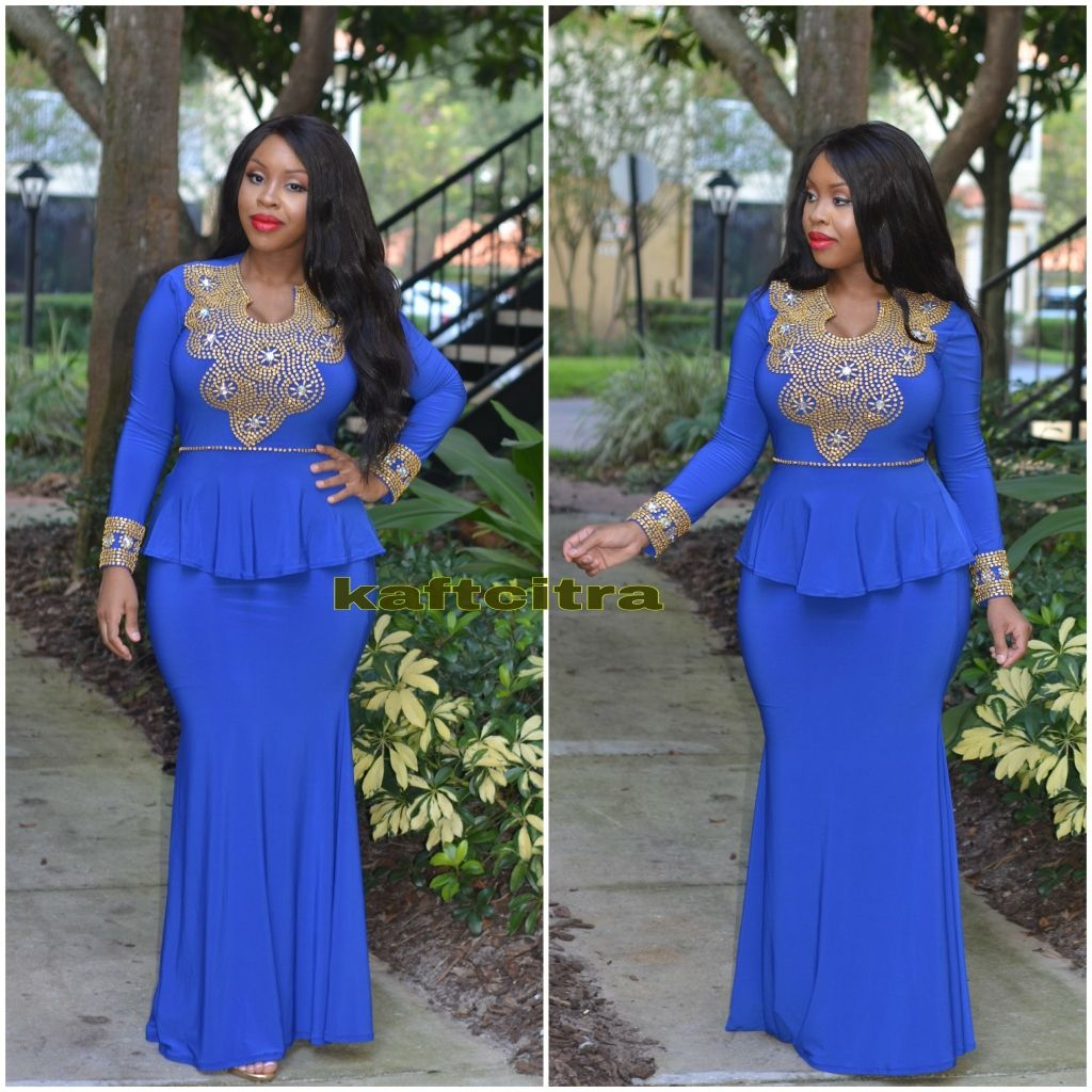 c08f87ad1a7 Peplum dress by ImaniFabric on Etsy. Theresa premium kaftan ( Royal blue  colour )