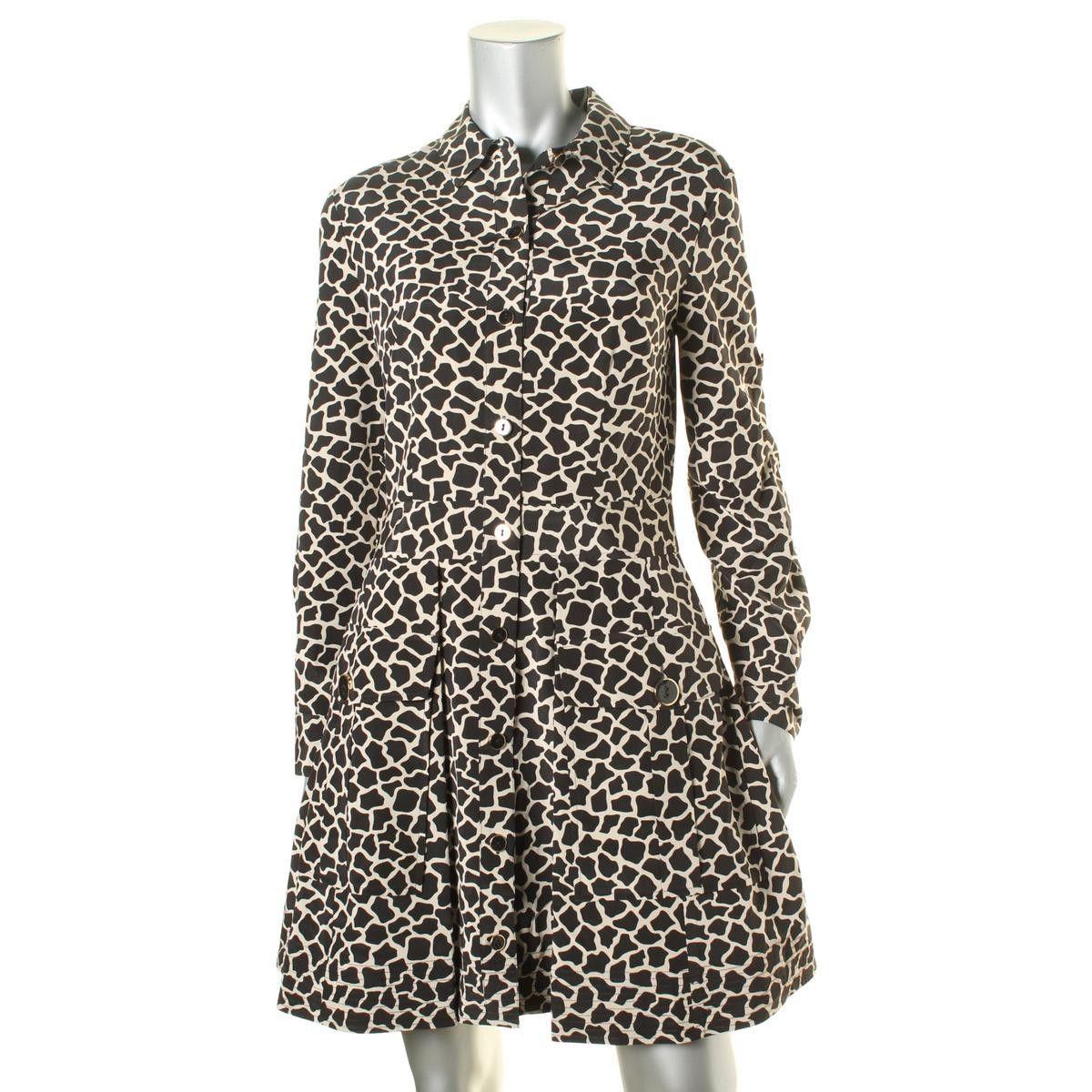 DKNY Womens Silk Animal Print Shirtdress