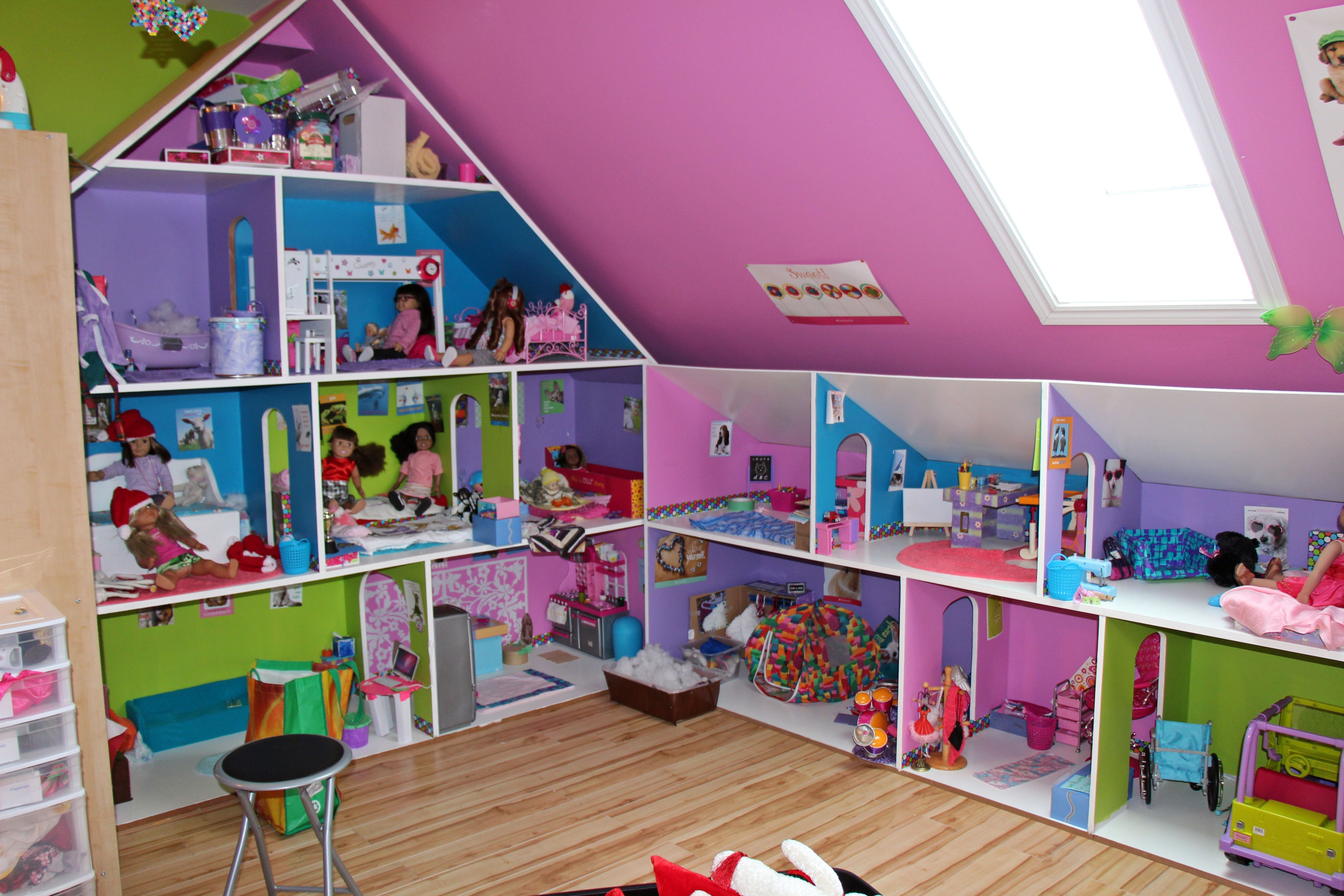 "the dollhouse for 18"" dolls built with mdf board. 8 ft. in height"